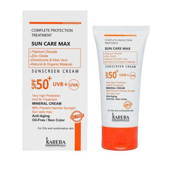 كرم ضد آفتاب بی رنگ اس پی اف 50 پوست چرب 50 میلی لیتر كاربا