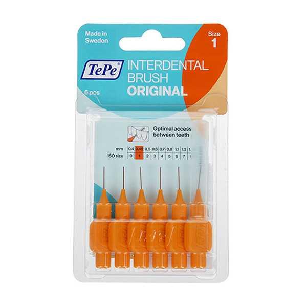 مسواك بین دندانی نارنجی سایز 1 بسته 6عددی تپه