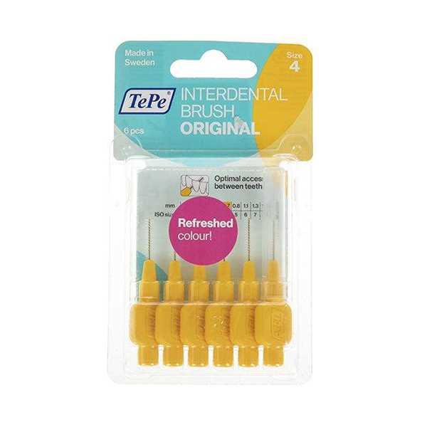 مسواك بین دندانی زرد سایز 4 بسته 6 عددی تپه