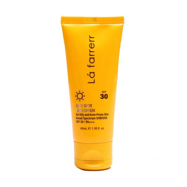 كرم ضد آفتاب و ضد لك بی رنگ اس پی اف 30 پوست های خشك و معمولی 40 میلی لیتر لافارر