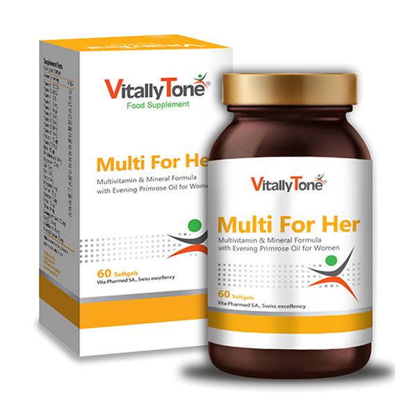 كپسول مولتی ویتامین مینرال همراه روغن گل مغربی 60 عدد ویتالی تون